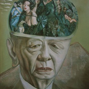 """102 Wang Huaxiang, """"The Moralist"""", oil on canvas, 100 x 80 cm, 1995"""