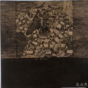 """104 Wang Huaxiang, """"Urban Cars No.2"""", black and white woodblock print, 92 x 92 cm, 2004"""