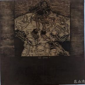 """105 Wang Huaxiang """"Urban Cars No.1"""" black and white woodblock print 92 x 92 cm 2004 290x290 - Wang Huaxiang"""