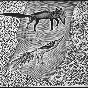 """107 Wang Huaxiang, """"Telling Lies to Foxes"""", black and white woodblock print, 30 x 38 cm, 1996"""