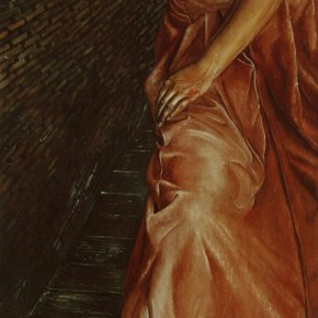 """108 Wang Huaxiang, """"Changing and Thinking Years"""", oil on canvas, 175 x 70 cm, 1993"""