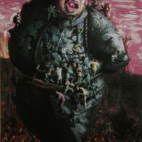 """109 Wang Huaxiang, """"The Tied Slave"""", oil on canvas, 200 x 300 cm, 2008"""