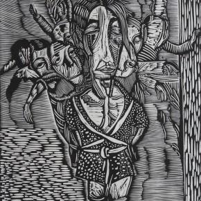 "112 Wang Huaxiang, ""Chinese Schema"", black and white woodblock print, 42 x 60.7 cm, 1996"