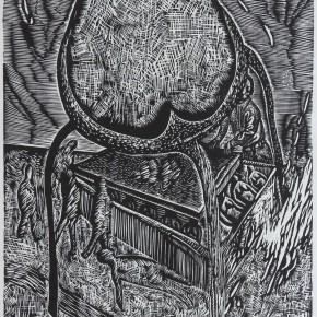 """113 Wang Huaxiang """"Privacy"""" black and white woodblock print 51.5 x 62 cm. 1996 290x290 - Wang Huaxiang"""