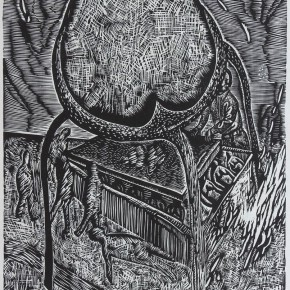 "113 Wang Huaxiang, ""Privacy"", black and white woodblock print, 51.5 x 62 cm. 1996"