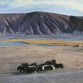 "Bai Gang ""Black Mountains"" 120 x 100 cm oil painting 290x290 - On the Plateau – Art Works Exhibition of Xinjiang Fine Art Academy Held in Guangzhou"