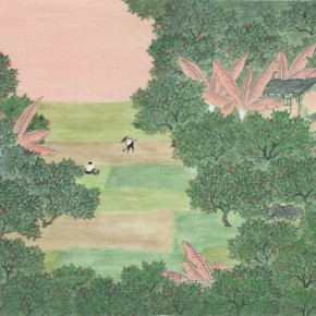 """Cai Hanyue In the Field colored ink on silk 36 x 50 cm 2013 290x290 - """"Sweet and Elegant - 2014 Young Female Artists Exhibition"""" Opening in Yan Huang Art Museum"""