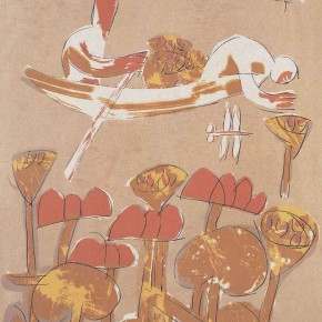"Guang Jun, ""Picking Lotus Figure"", 74 x 53 cm, silkscreen print, 1985"