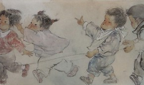"""Pan Chuan Driving a Train ink painting 30 x 113 cm 2013 290x173 - """"Sweet and Elegant - 2014 Young Female Artists Exhibition"""" Opening in Yan Huang Art Museum"""