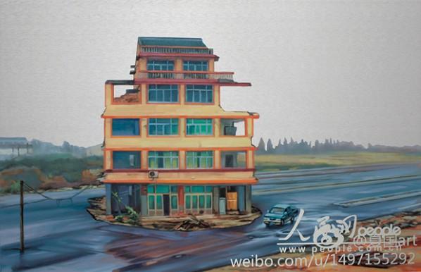 Xie Xiaoze, November 21, 2012, Wenling, Zhejiang (Nail House No.1), 2013; Oil on aluminum panel, 52x80cm
