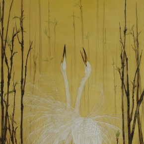 """Zhu Ling Singer colored ink on silk 2011 290x290 - """"Sweet and Elegant - 2014 Young Female Artists Exhibition"""" Opening in Yan Huang Art Museum"""