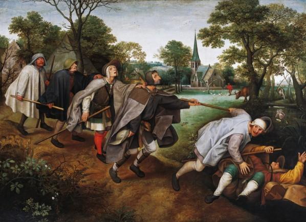 "01 Said Lucas van Valckenborch (1535 Leuven – 1597 Frankfurt) copied Pieter the Elder Bruegel (1520-1525 Breda - 1569 Brussels)'s ""The Parable of the Blind Leading"