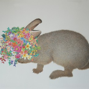 """02 Lai Jinna """"Rabbit"""" color pencil on paper 58 x 77 cm 2013 290x290 - Solo Show by Lai Jinna """"A Full Void"""" Opening in Beijing"""