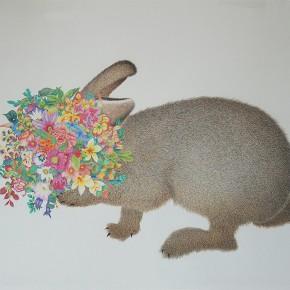 """02 Lai Jinna, """"Rabbit"""", color pencil on paper, 58 x 77 cm, 2013"""