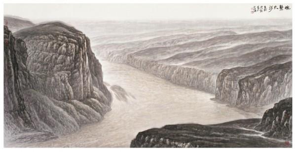 "03 Xu Renlong, ""Caring the Great River in the Dream"", 125 x 247 cm, 2011"