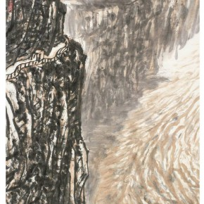 """04 Xu Renlong """"Cliffs of the Yellow River Figure"""" 138 x 68 cm 2012 290x290 - """"Teaching and Learning Improving Each Other: Exhibition for Xu Renlong's Teaching and Creation"""" Opened in CAFA"""
