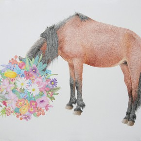 """06 Lai Jinna """"Horse"""" color pencil on paper 56 x 76 cm 2012 290x290 - Solo Show by Lai Jinna """"A Full Void"""" Opening in Beijing"""
