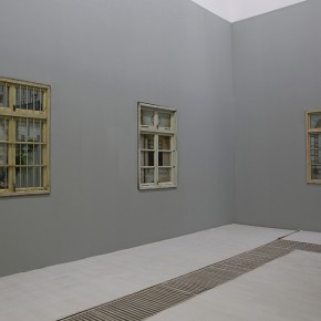 """Li Qing """"Mirror Window · Mishima's Garden"""" left """"Neighbor Window · St Petersburg Wind 2""""middle and """"Neighbor Window · London Wind 2""""right mixed media 2013 2014 290x290 - The Being of Non-Being: A Kind of Personal Expression on """"Meta-Painting"""" Presented at Linda Gallery"""