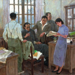 """Shen Xinggong """"The Life for Reading – Chinese Intellectuals in the Early 20th Century"""" oil on canvas 150 x 150 cm 2002 290x290 - Emotion and Personality: Shen Xinggong Talked About the Creation and Teaching of Oil Painting"""