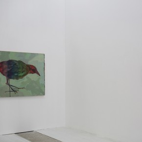 """Wang Mao """"A Little Bird"""" left oil on canvas 2013 """"A Stone""""right oil on painting 2013 290x290 - The Being of Non-Being: A Kind of Personal Expression on """"Meta-Painting"""" Presented at Linda Gallery"""