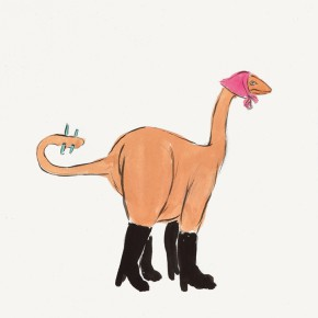 "143 Wu Yi, ""Dinosaur"", ink on paper, 30 x 21 cm, 2007"