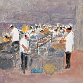 """150 Wu Yi, """"Lunch"""", oil on canvas, 40 x 30 cm, 2006"""