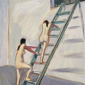 """159 Wu Yi, """"The Women Climbing an Escalator"""", oil on canvas, 60 x 50 cm, 2005"""