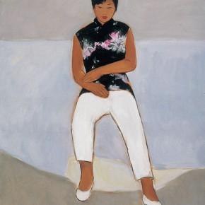 """160 Wu Yi, """"Thinking"""", oil on canvas, 60 x 50 cm, 2005"""