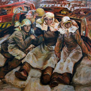 "18 Tang Xiaohe and Cheng Li ""Gezhouba People"" triptych left ""Mothers in the Construction Site"" 290x290 - ""Strong Wind and Big Waves – The Retrospective of Tang Xiaohe and Cheng Li"" Debuted at Hubei Museum of Art"