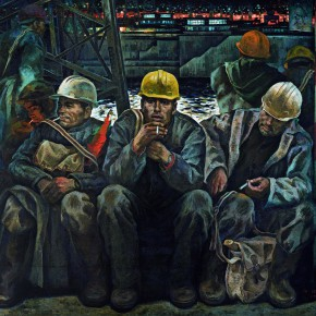 "19 Tang Xiaohe and Cheng Li ""Gezhouba People"" triptych middle ""Backbones of the Dam""  290x290 - ""Strong Wind and Big Waves – The Retrospective of Tang Xiaohe and Cheng Li"" Debuted at Hubei Museum of Art"