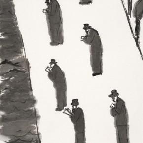 "209 Wu Yi, ""Seine River"", ink on paper, 120 x 70 cm, 2002"