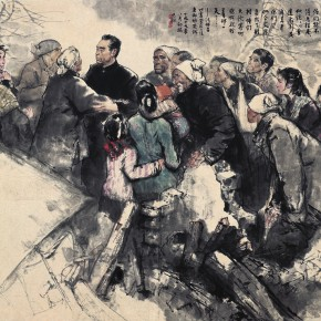 "22 Zhou Sicong ""The People and the Prime Minister"" Chinese painting 151 x 217 cm 1979 290x290 - The 60th Anniversary Exhibition Celebrating the High School Affiliated to the Central Academy of Fine Arts"