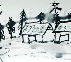 """26 Zhu Xinjian """"The Mood from West"""" ink on paper 34.5 x 139 cm 2013 290x254 - """"Modern Recluse: Hermit Spirits of Zhu Xinjian"""" Opened at Today Art Museum to Recall the New Literati Painter Zhu Xinjian"""