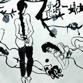 "27 Zhu Xinjian ""Young Lady Like a Blossom Flower"" ink on paper 68.5 x 136 cm 290x290 - ""Modern Recluse: Hermit Spirits of Zhu Xinjian"" Opened at Today Art Museum to Recall the New Literati Painter Zhu Xinjian"
