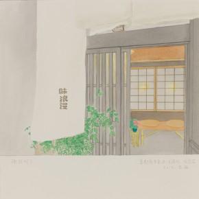 "74 Wu Yi, ""Kyoto Shimogyoku Kawaramachi (Aji Roman)"",  ink on paper, 39 x 27 cm, 2012"