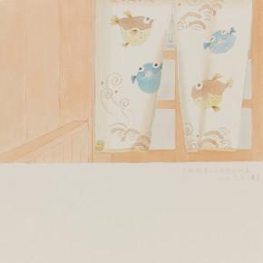 "75 Wu Yi, ""Kyoto Higashiyama-ku Hanami-Koji"", colored ink on paper, 39 x 27 cm, 2012"