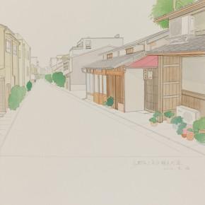 "77 Wu Yi, ""Kyoto Kamigyoku Sawaragichodori )"", colored ink on paper, 39 x 27 cm, 2012"