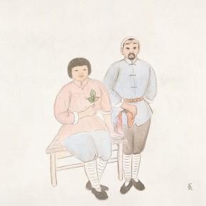 "86 Wu Yi, ""Wedding Photo"", ink on paper, 33 x 33 cm, 2011"