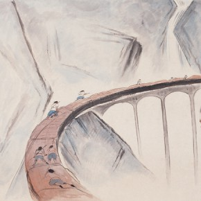 "90 Wu Yi, ""Night"", ink on paper, 98 x 198 cm, 2010"