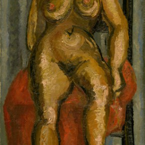 Chen Chengbo, A nude against the red shawl on the chair; Oil on canvas, 79x39cm