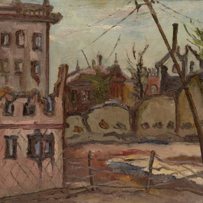 Chen Chengbo, Disaster of War(On the side of the Commerical Press), 1933; Oil on canvas, 38x45cm