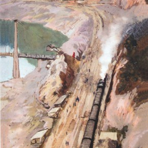 "Dong Xiwen ""At Construction Site of the Railway"" watercolor on paper 43 x 22 cm 1963 290x290 - Cao Qinghui: ""Chinese Painting • Western Painting"" – A Kaleidoscope that Refracts the Situation of Modern Chinese Art"