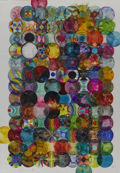 Wu Jian'an, 121 Color Balls, 2013; Watercolor on paper, 120x82cm