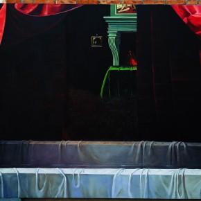 """Yue Minjun, """"Gabrielle d'Estrées and Her Sisters"""", oil on canvas, 300 x 217 cm, 2006"""