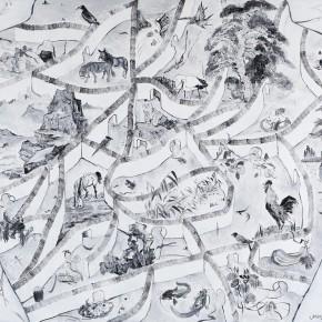 "Yue Minjun, ""Maze No.1"", oil on canvas, 200 x 240 cm, 2013"