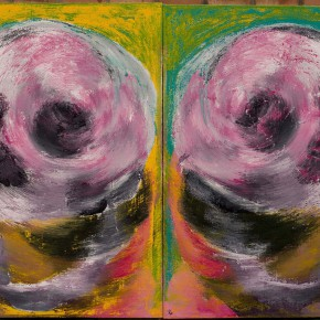 """Yue Minjun """"Overlapping Series 2012 02"""" oil on canvas 60 x 80 cm x 2 pcs 2012 290x290 - """"Big Face – New Works by Yue Minjun"""" Debuted at the Art Museum of Nanjing University of the Arts"""