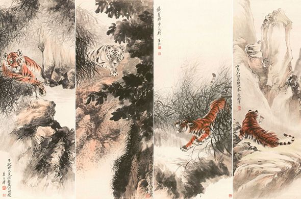 "Zhang Shanzi, ""The Twelve Nobile Figure""(detail), colored ink on paper, 134 x 54.5 cm x 12, 1928"