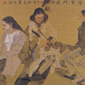 """02 Wang Yingsheng """"The French Impression – In Front of Musée du Louvre"""" gold foil and paperboard 53 x 58 cm 290x290 - Travelling• Lifelike - Wang Yingsheng's Special Exhibition of Ink Figures with Gold Foil Paperboard"""