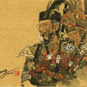 """04 Wang Yingsheng """"The Scotland Bagpipe"""" gold foil and paperboard 54 x 45 cm 2012 290x290 - Travelling• Lifelike - Wang Yingsheng's Special Exhibition of Ink Figures with Gold Foil Paperboard"""