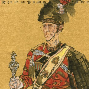 """05 Wang Yingsheng """"One Old Guard"""" gold foil and paperboard 54 x 45 cm 2012 290x290 - Travelling• Lifelike - Wang Yingsheng's Special Exhibition of Ink Figures with Gold Foil Paperboard"""